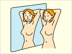 入浴時や着がえのときに、鏡の前で腕の上げ下げなどのポーズをしながら目で確認します(視診)。